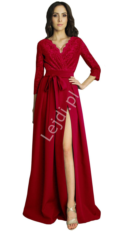Czerwona suknia wieczorowa z koronkowym rękawem 3/4, m386 - Lejdi