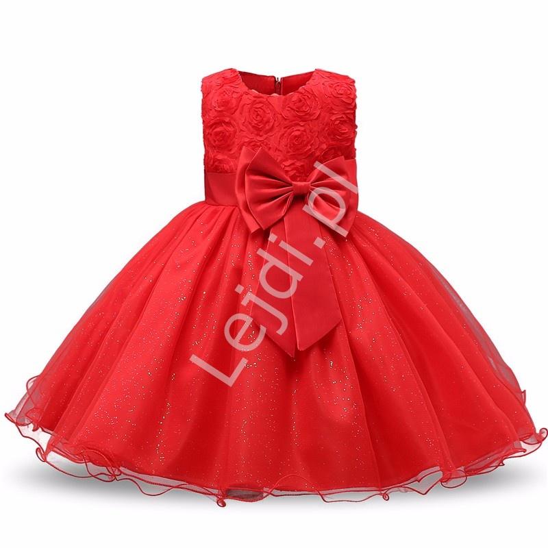 Czerwona tiulowa sukienka dla dziewczynki z różami - Lejdi