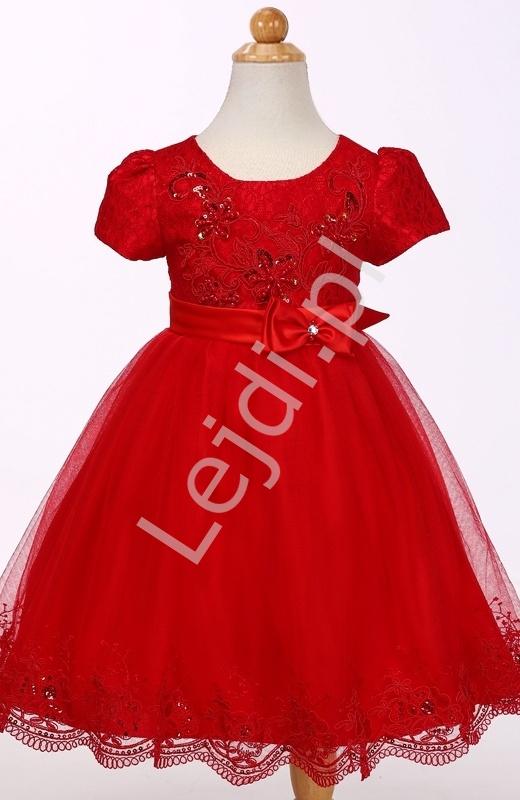 Czerwona tiulowa sukienka w krótki rękawek - Lejdi