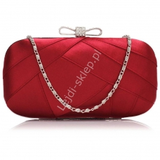 d6718042d49d1 Czerwona torebka wieczorowa szkatułka z kryształkowa kokardką