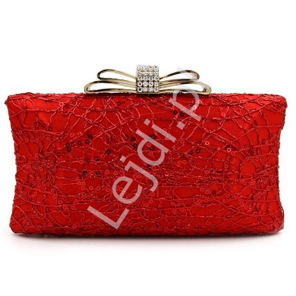 cebb483ae282c Czerwona torebka wieczorowa ażurowa z kokardą