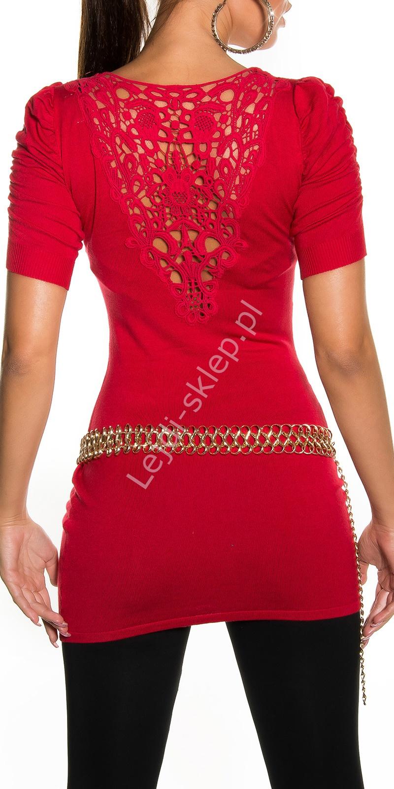 Czerwona tunika damska / tunika z ozdobną koronką na plecach | czerwone młodzieżowe swetry damskie 1027 - Lejdi