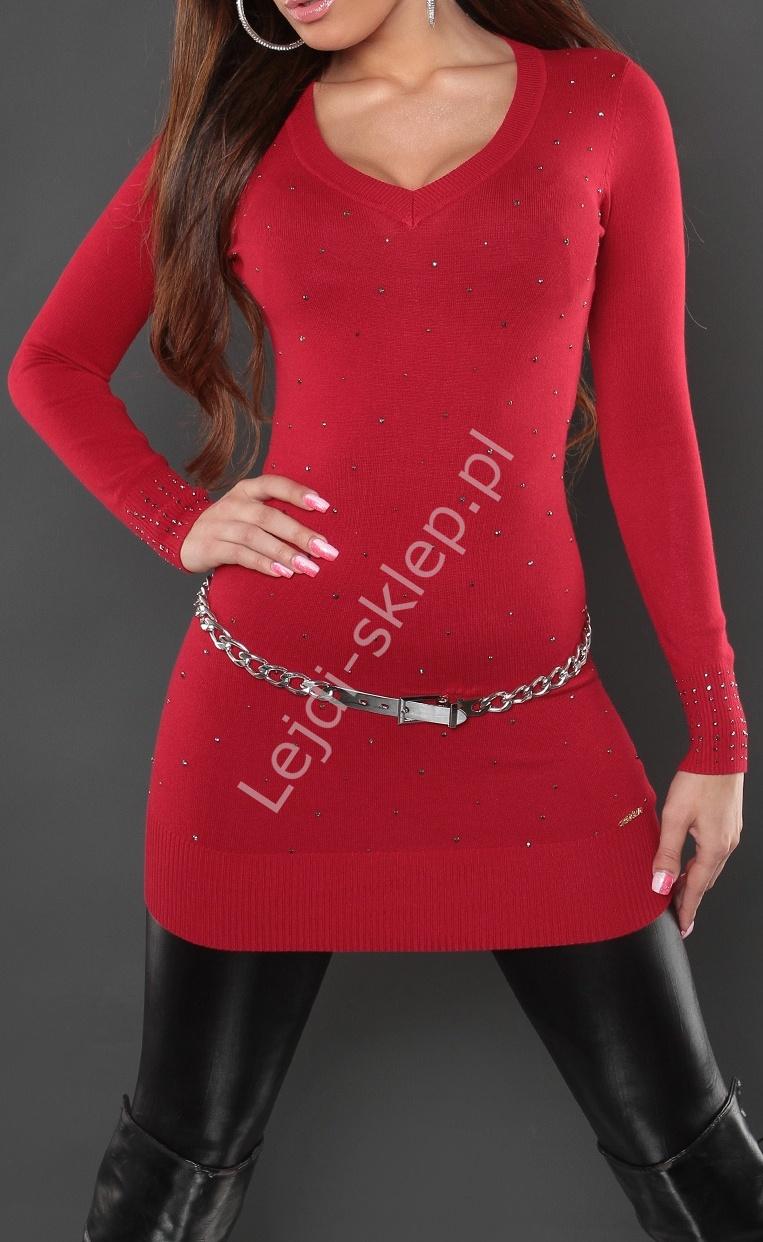 Czerwona tunika z ciemnoszarymi kryształkami 8040 - Lejdi