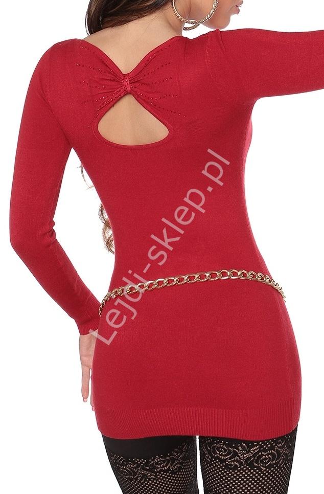 Czerwona wełniana tunika z łezką na plecach | swetry damskie z wełną 8071 - Lejdi
