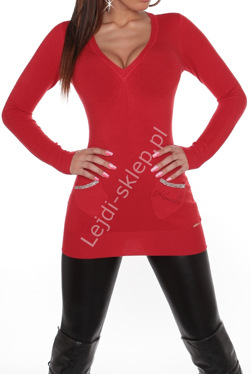 Czerwona wełniana tunika z ozdobionymi cyrkoniami na kieszonkach, 30% wełna+sztuczny jedwab, 806 - Lejdi