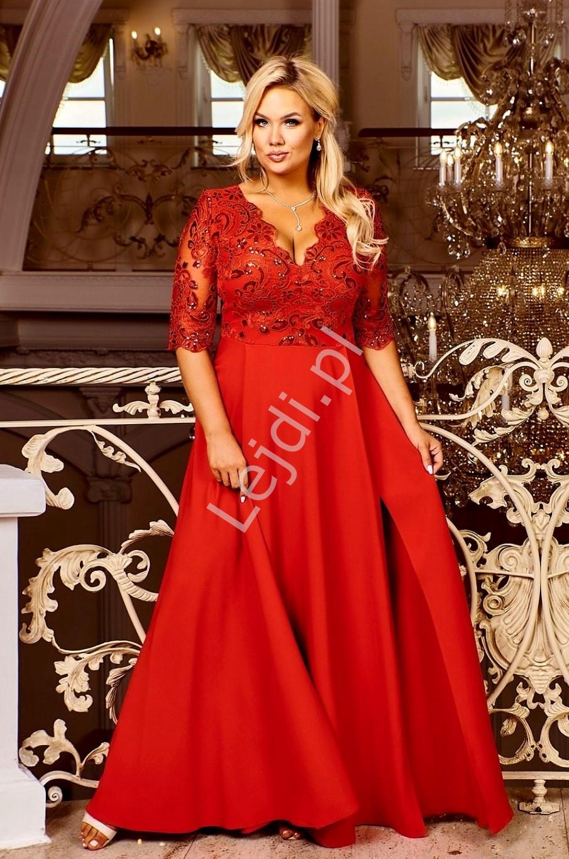Czerwona wieczorowa suknia w dużych rozmiarach, zdobiona koronką i cekinami - Crystal 3/4 - Lejdi