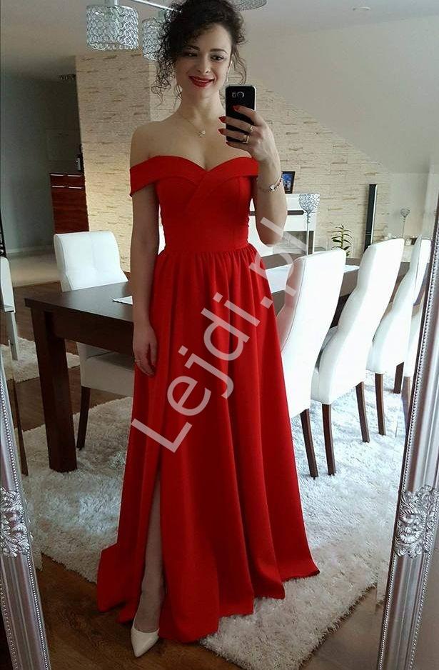 Czerwona wieczorowa suknia z dekoltem carmen - Lejdi