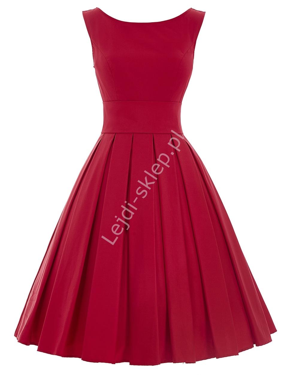 Czerwona wizytowa sukienka z plisowanym dołem | czerwone sukienki, sukienka na wesele, studniówkę, komunie - Lejdi