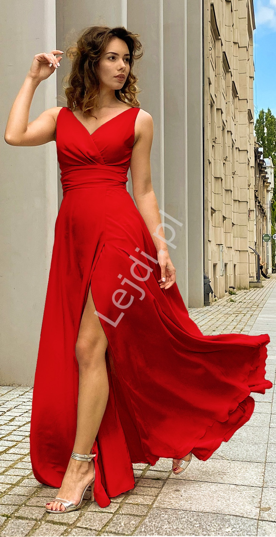 Czerwona wysmuklająca suknia wieczorowa, rozmiary od 34 do 52 - m395 - Lejdi