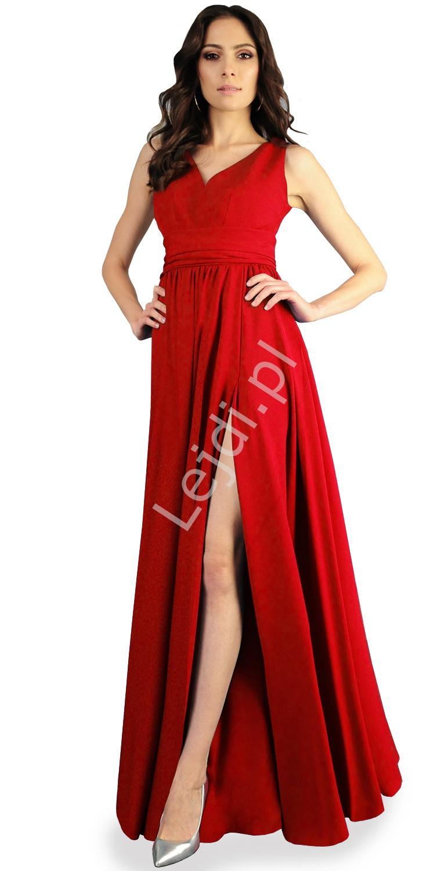 Czerwona żorżetowa sukienka wieczorowa, szyta od 34 do 52r. - m374 - Lejdi
