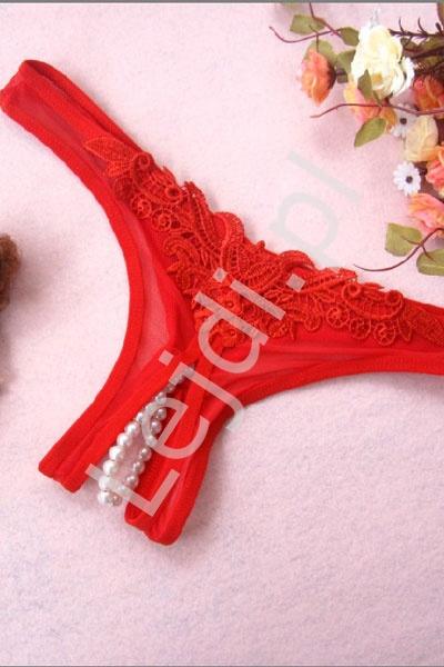 dd17b04d326f9f Czerwone stringi z rozcięciem w kroku i perełkami 614 - Lejdi.pl