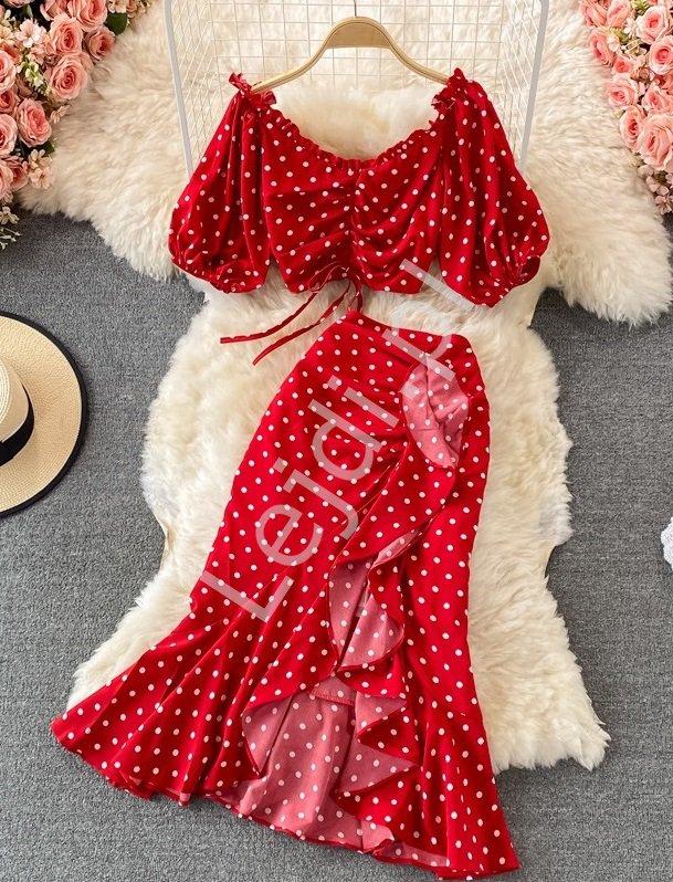 Czerwony komplet letni w groszki, spódnica i krótka bluzka w stylu Hiszpanki 4197 - Lejdi