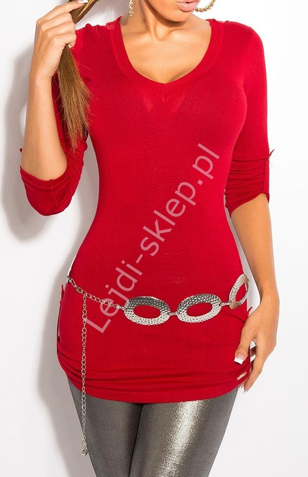 Czerwony sweter z haftem na plecach / sweter z rękawem 3/4, 8011 - Lejdi
