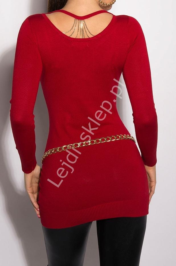 Czerwony sweter z łańcuszkami na plecach w klasycznym eleganckim stylu 8054 - Lejdi