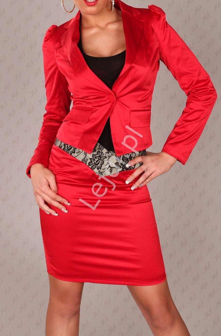Czerwony żakiet damski z bufkami na ramionach - Lejdi