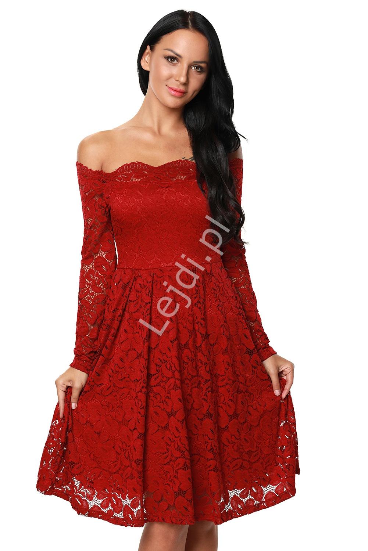 Sukienka koronkowa z dekoltem typu carmen, ciemne wino 427 -3 - Lejdi