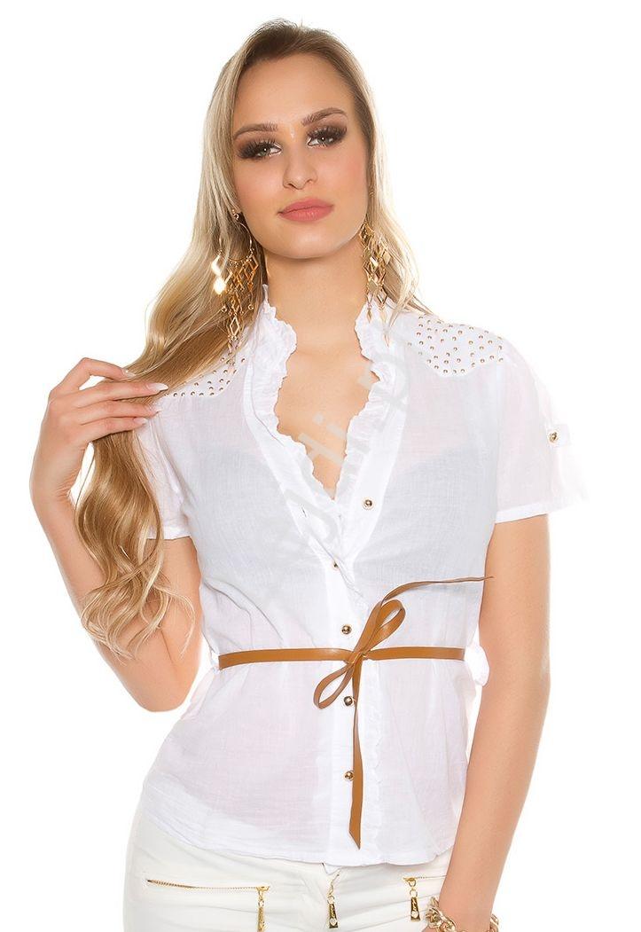 Damska koszula bawełniana z krótkim rękawkiem, zdobiona jetami | biała elegancka bluzka koszulowa 6099 - Lejdi