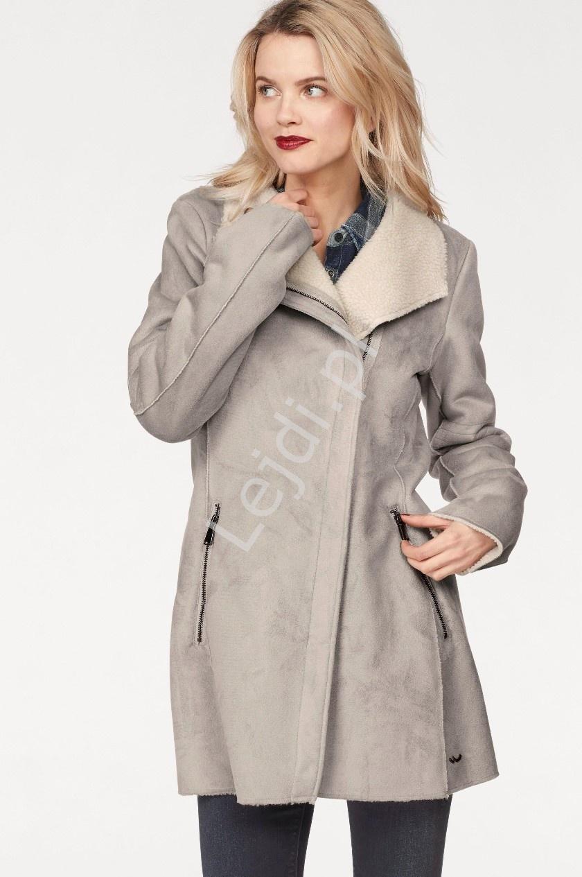 Damski jasnoszary płaszcz z imitacji zamszu z barankiem od wewnątrz LTB Noreye - Lejdi