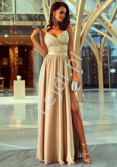 53ea46c329 Delikatna suknia wieczorowa na cieńkich ramiączkach na wesele w kolorze  karmelowym - Bella