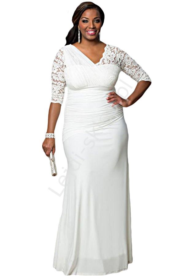 Długa biała suknia z asymetryczną koronką | białe sukienki Plus Size - Lejdi