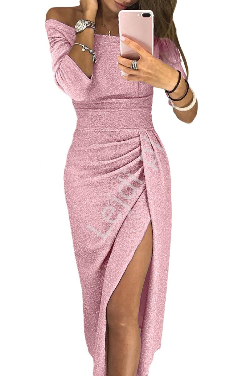 Błyszcząca midi sukienka wieczorowa z rozcięciem ukazującym nogę - jasny róż 566 - Lejdi
