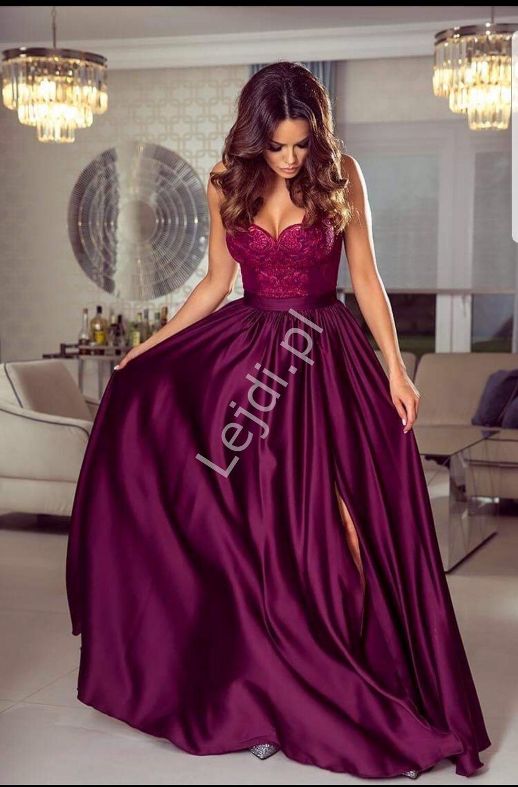Długa bordowa suknia wieczorowa na cieńkich ramiączkach - Bella - Lejdi