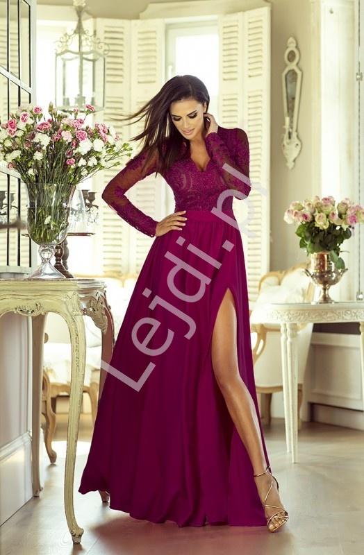 Długa burgundowa suknia wieczorowa z rozcięciem - Luna - Lejdi