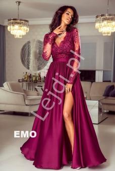 6c79f45b10 Długa burgundowa suknia wieczorowa z rozcięciem - Luna
