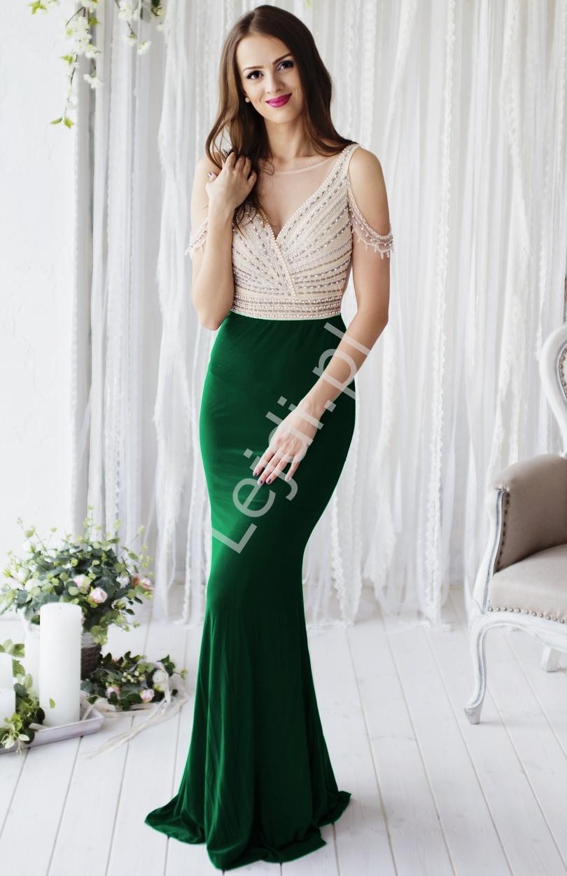 Długa ciemno zielona suknia z wysadzanym kryształkami i koralikami gorsetem | suknia w hollywodzkim stylu - Lejdi