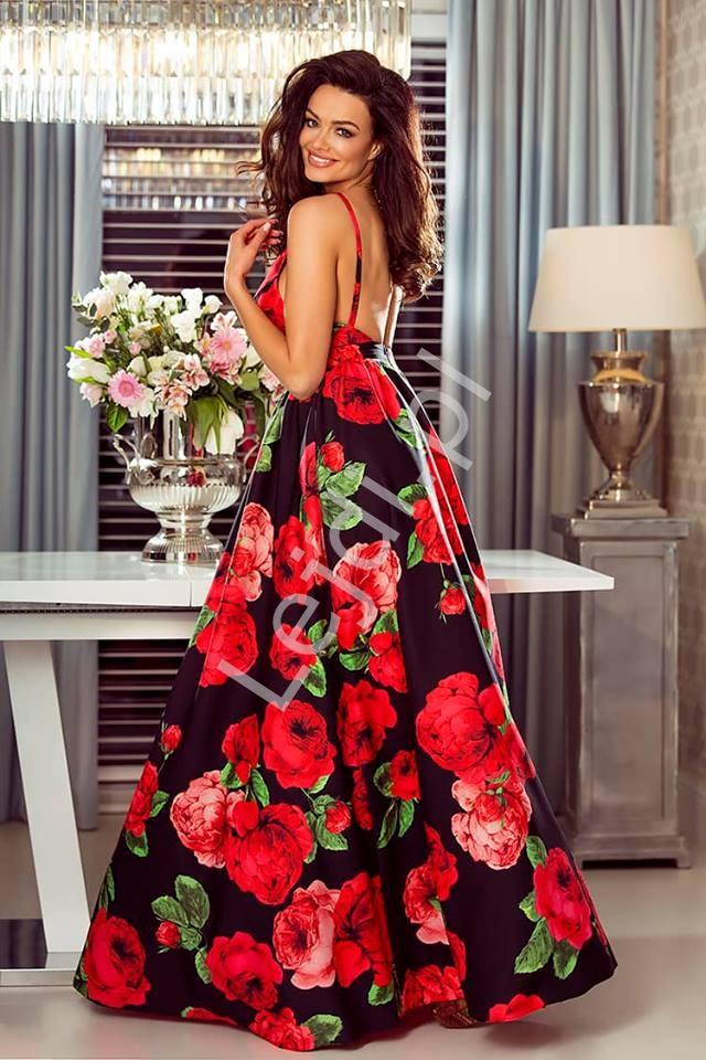 Długa Czarna Sukienka W Czerwone Kwiaty Megi Lejdi Pl