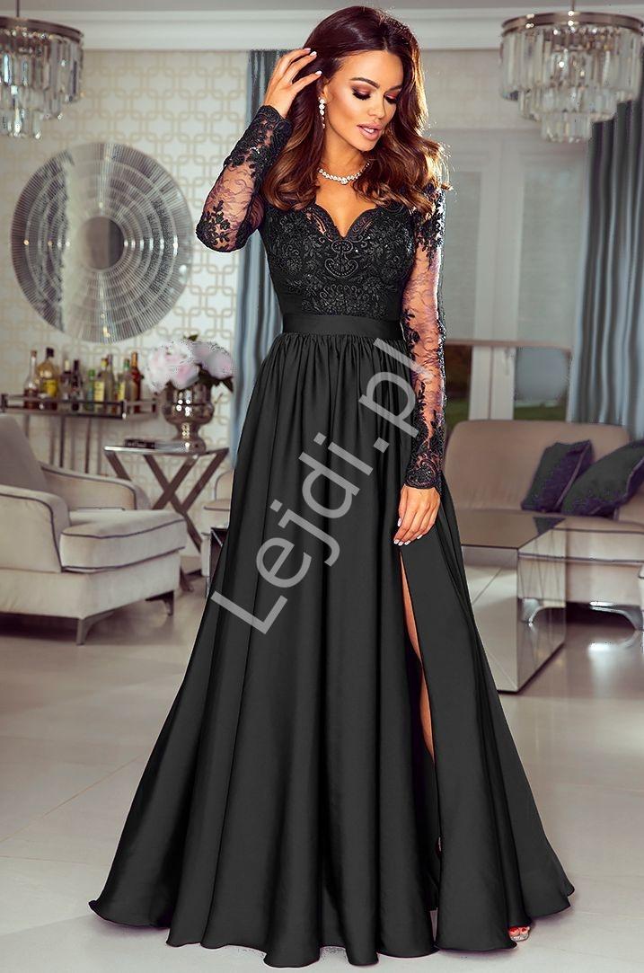 Długa czarna suknia wieczorowa z rozcięciem - Luna - Lejdi