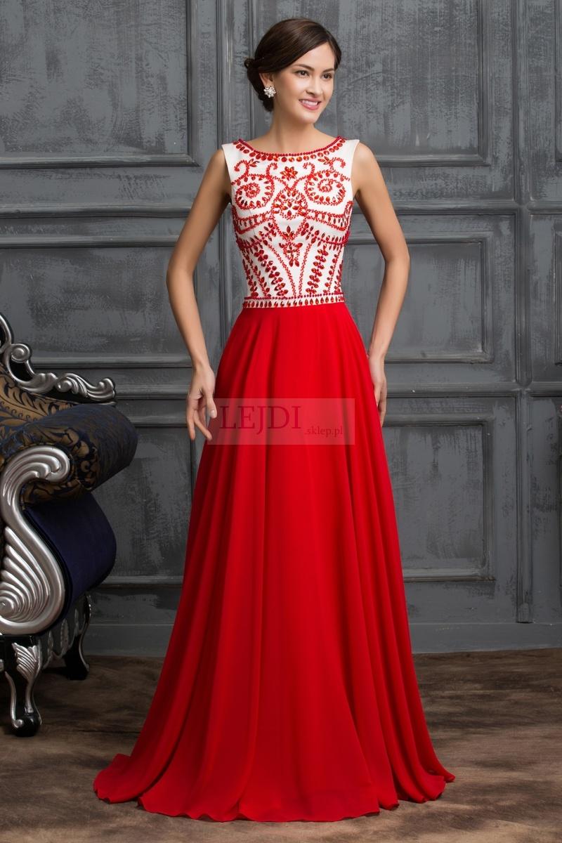Długa czerwona suknia wieczorowa w stylu Sherri Hill 11146 - Lejdi