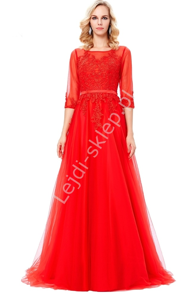 Długa czerwona suknia z gipiurą | suknia tiulowa z długim rękawem - Lejdi