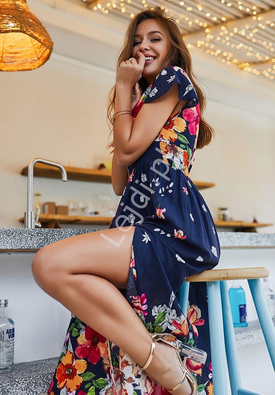 Długa granatowa suknia z kwiatami - Lejdi