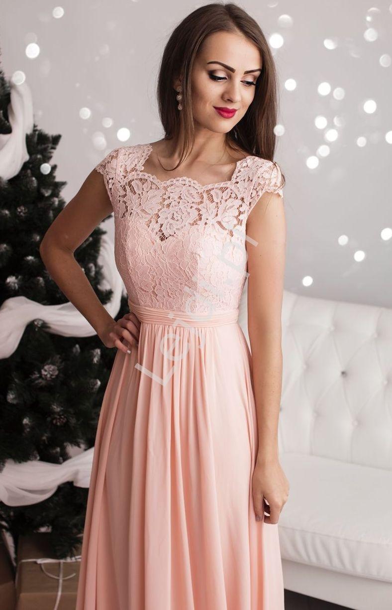 Długa jasnoróżowa suknia szyfonowa z koronkową górą z pięknie wyeksponowanymi plecami, 1304 - Lejdi