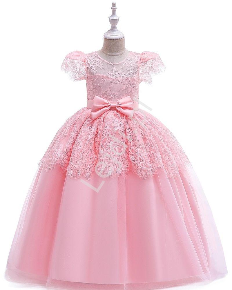 Długa jasnoróżowa suknia wieczorowa na wesele, bal, komunie 221 - Lejdi