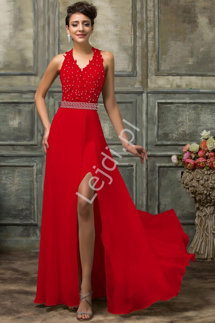 Długa koronkowa czerwona suknia - Lejdi