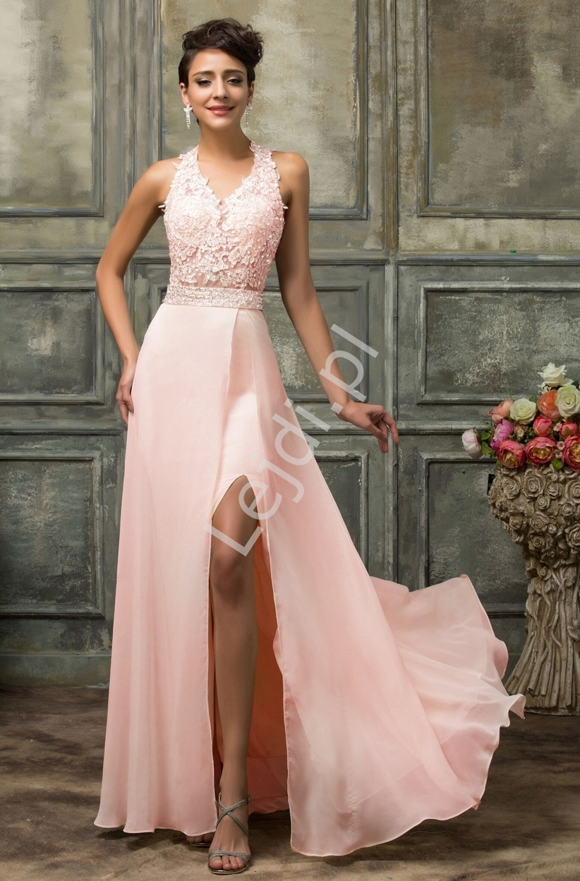 93962807e2d4bc Długa koronkowa suknia, jasny róż - Lejdi.pl