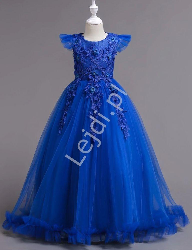 Długa koronkowa suknia wieczorowa dla dziewczynki 833, niebieska - Lejdi