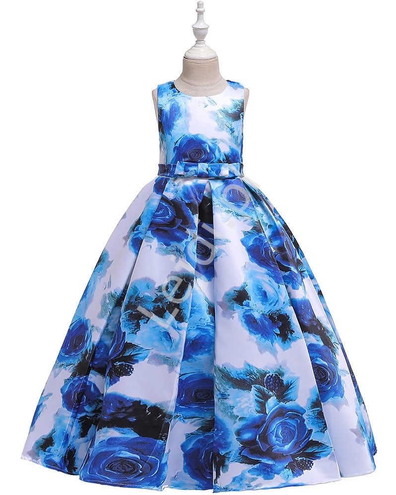 Długa kwiatowa sukienka dla dziewczynki w niebieskie róże 237 - Lejdi