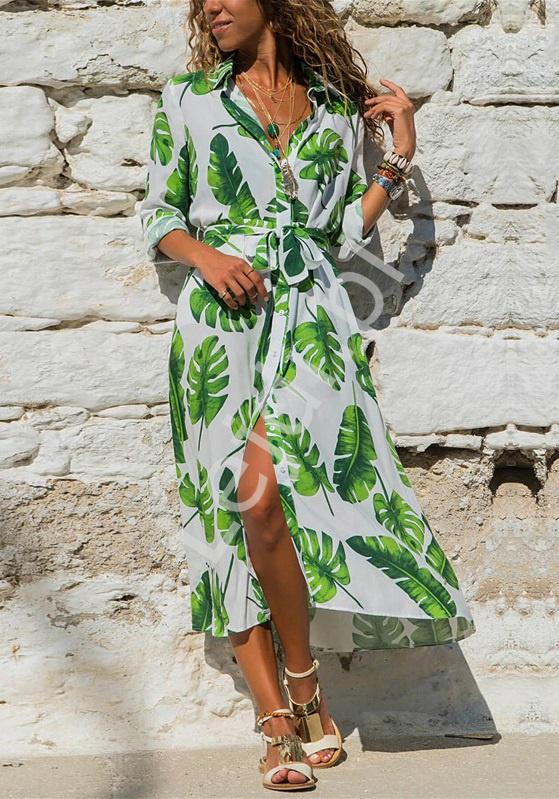 Długa letnia sukienka w liście zielone, maxi sukienka koszulowa na lato 3608