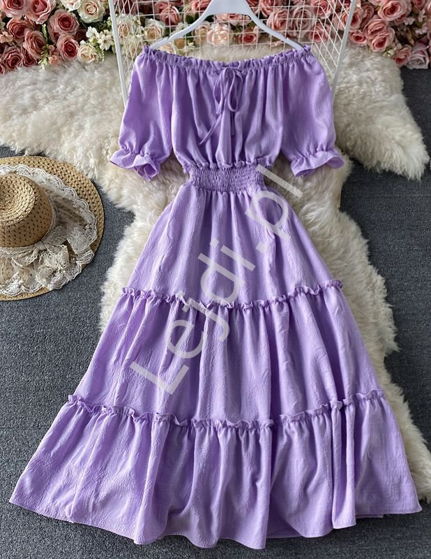 Zwiewna letnia sukienka z falbanami hiszpanka , lawenda 1148