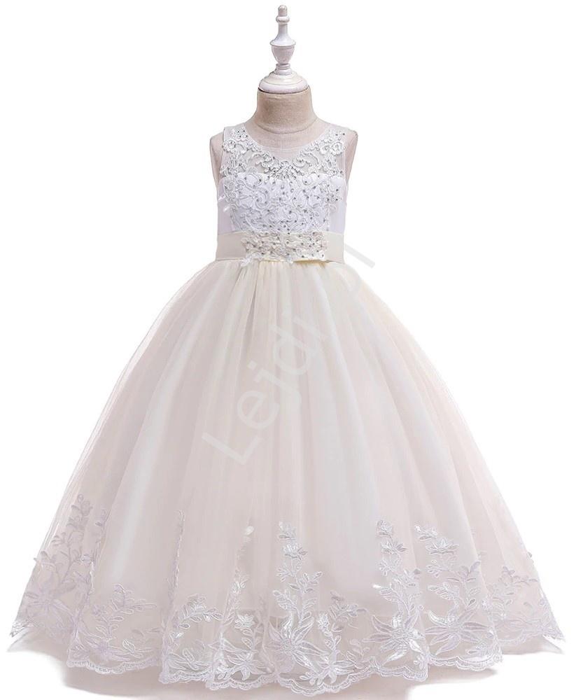 Długa luksusowa sukienka dziecięca z trenem w kolorze szampana 231 - Lejdi