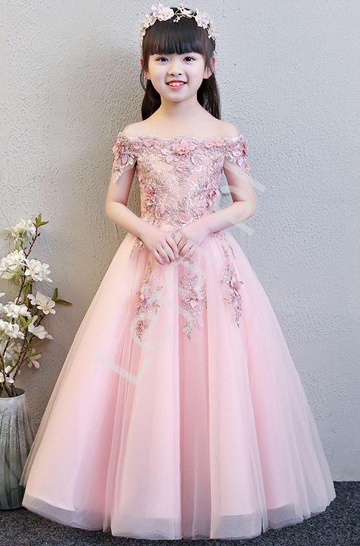 Długa luksusowa suknia na wesele, bal, komunie 6002 - Lejdi