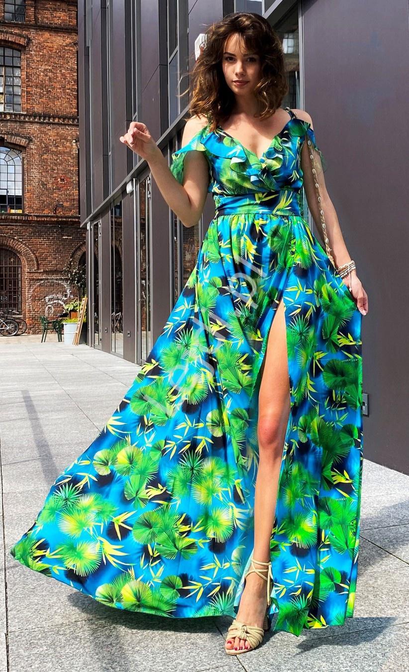 Długa niebieska suknia w zielono żółte wzory - m390 - Lejdi