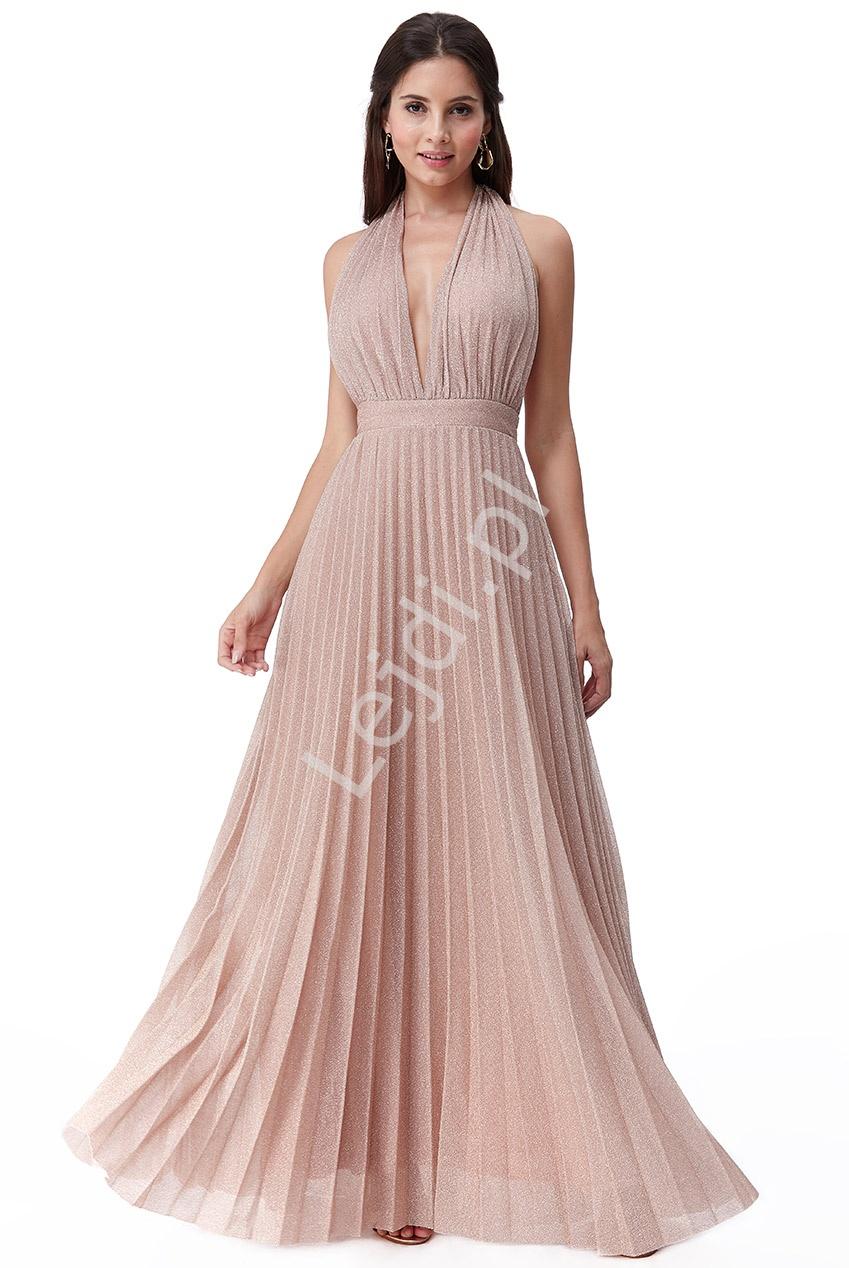 Długa plisowana zmysłowa suknia pudrowy róż z mieniącymi się opiłkami, LUREX Goddiva 2496 - Lejdi
