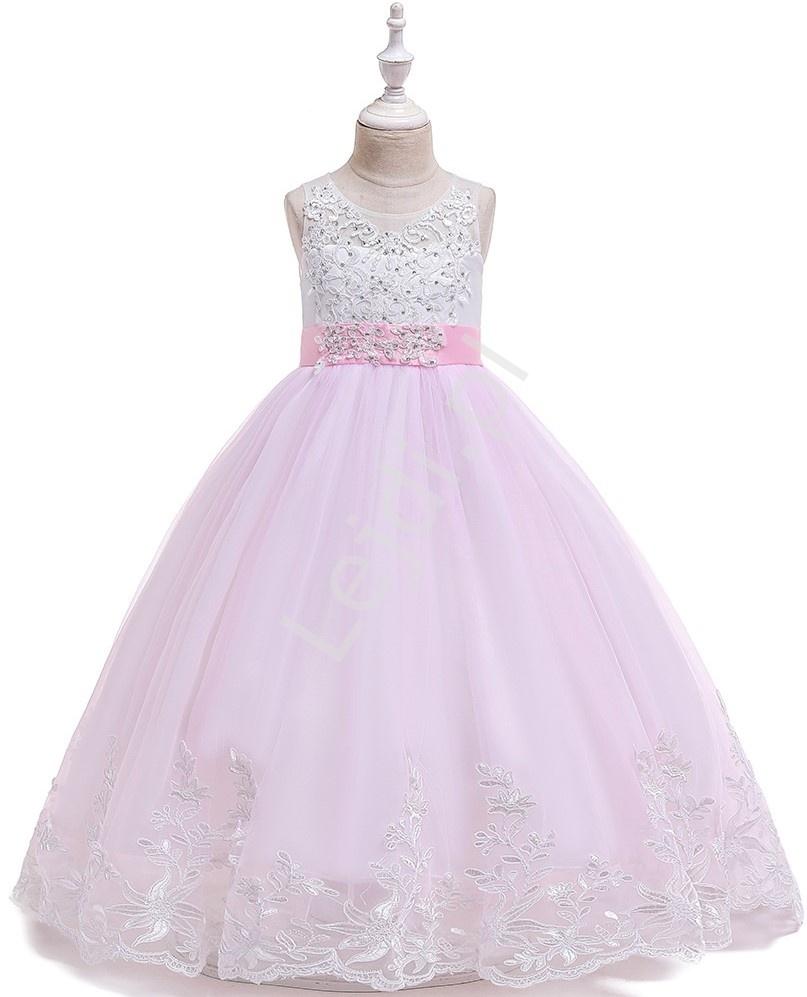 Długa różowa suknia dziecięca z trenem zdobiona haftem 231 - Lejdi