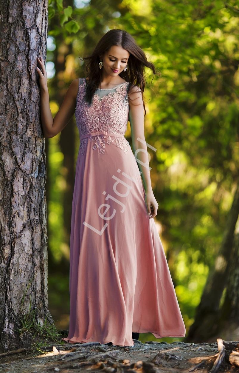 Długa różowa zjawiskowa suknia z koralikami i cekinami | długa suknia Plus Size - Lejdi