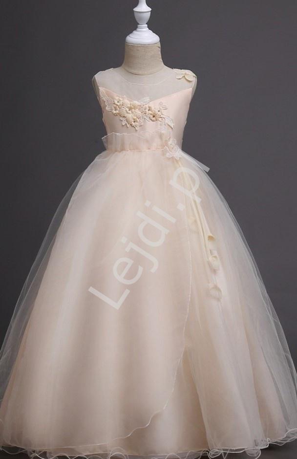 Długa sukienka dla dziewczynki w kolorze szampańskim 708 - Lejdi