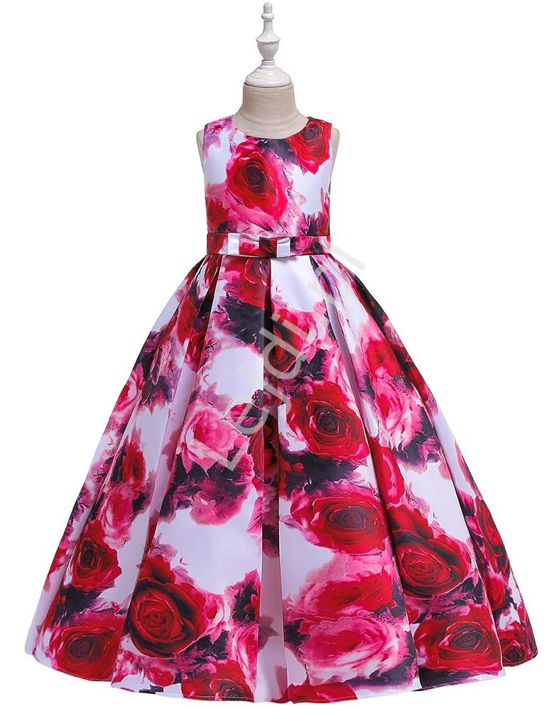 Długa sukienka dla nastolatki w czerwono różowe kwiaty 237 - Lejdi